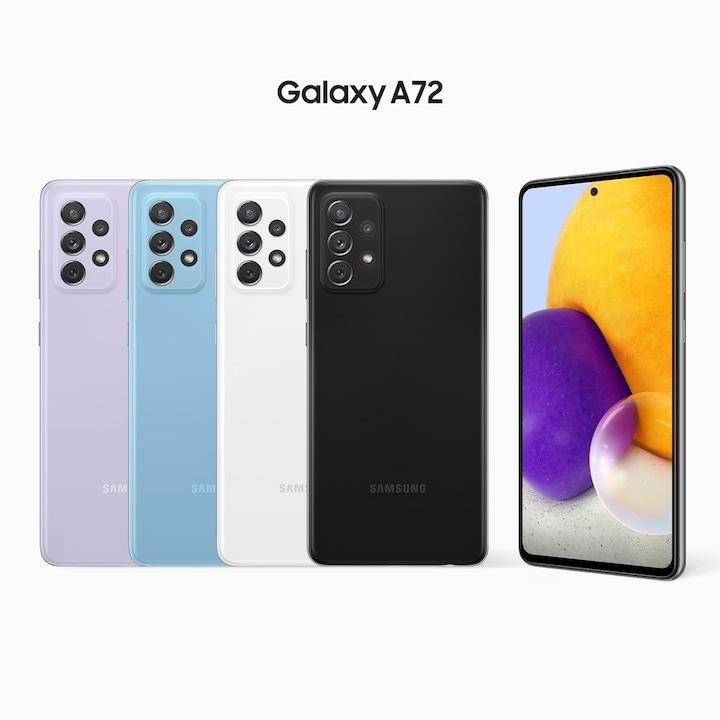 A row of Awesome Violet, Awesome Blue, Awesome White and Awesome Black A72's have their rear sides facing forward, with another model on the right side facing forward at a slight angle. On its screen is a combination of colorful round shapes.