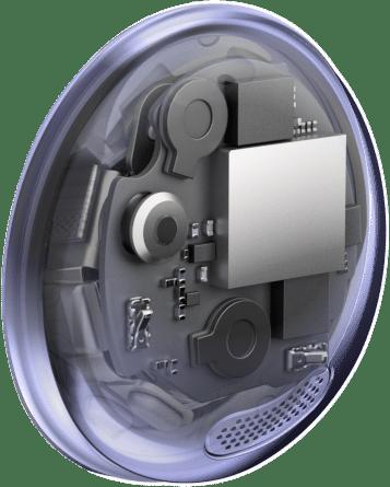 Una vista de rayos X de un auricular Galaxy Buds Pro que muestra la ubicación de la unidad de control por voz, junto con la cámara y la malla del micrófono interno.