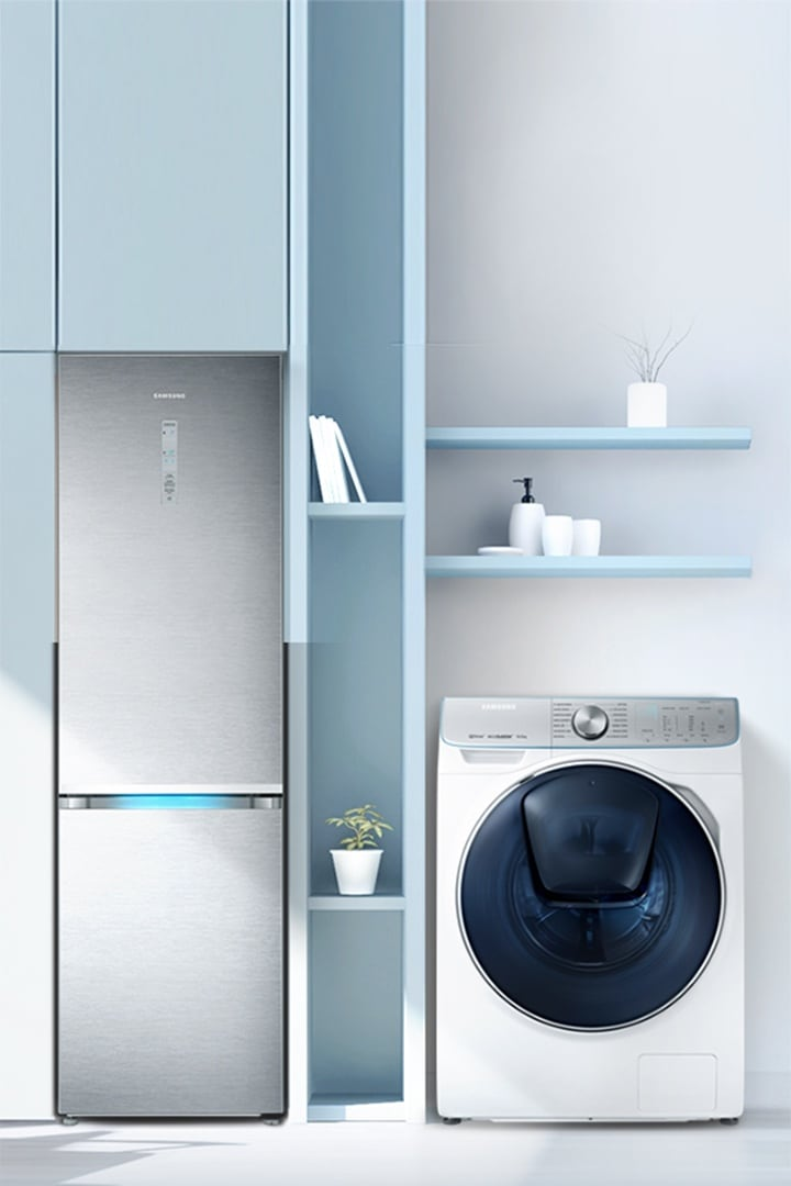 refrigerator and washing machine in living space