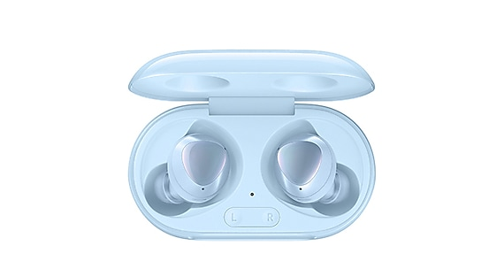 A product shot of a pair of sky blue Galaxy Buds+ sitting in their sky blue case