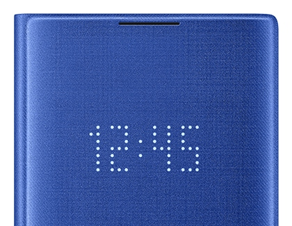 Note10 LED case displaying the time
