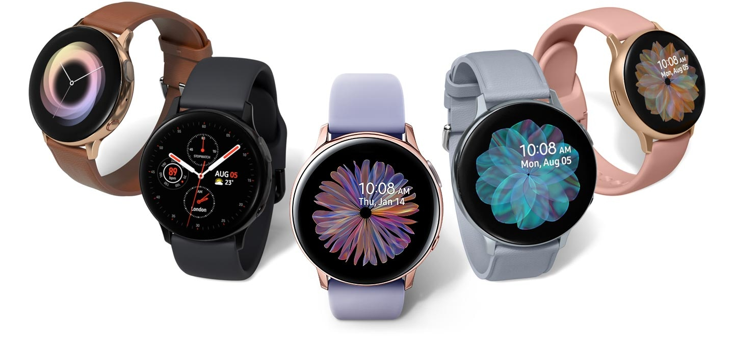 Five Galaxy Watch Active2 models side by side in a range of colors and materials: Gold Watch with Brown Leather Strap, Black Watch with Aqua Black Sport Band, Rose Gold Watch with Violet Sport Band, Cloud Silver Watch with Cloud Silver Leather Strap, and Gold Watch with Pink Sport Band.