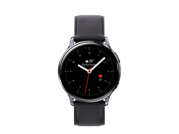 A product shot of a black Galaxy Watch Active2, the time on the watch's face reads 10:08 am