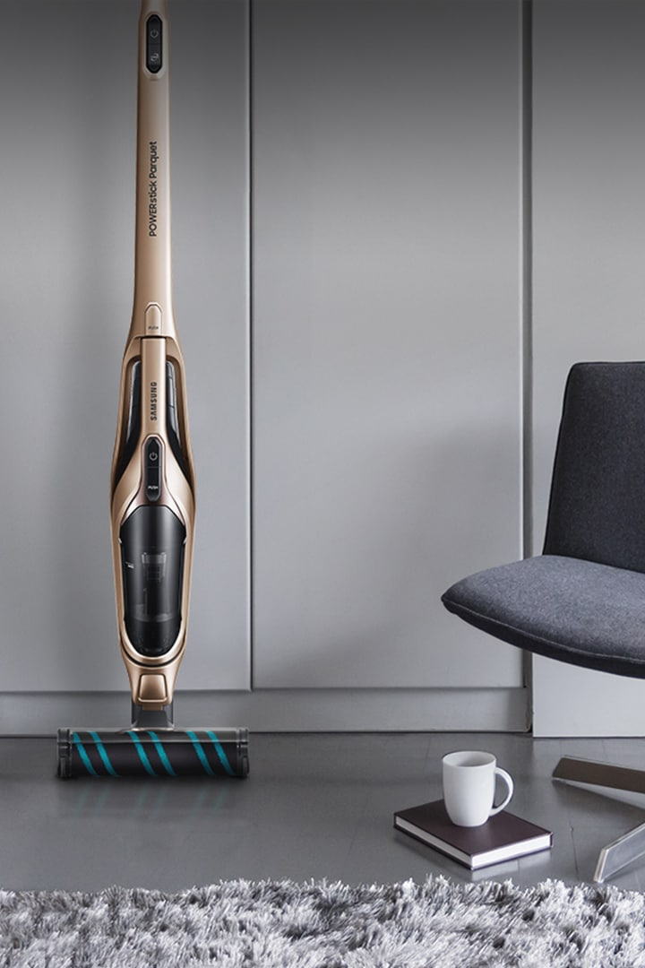 Samsung jet coreless stick vacuum cleaner against the wall in a living next to an art work