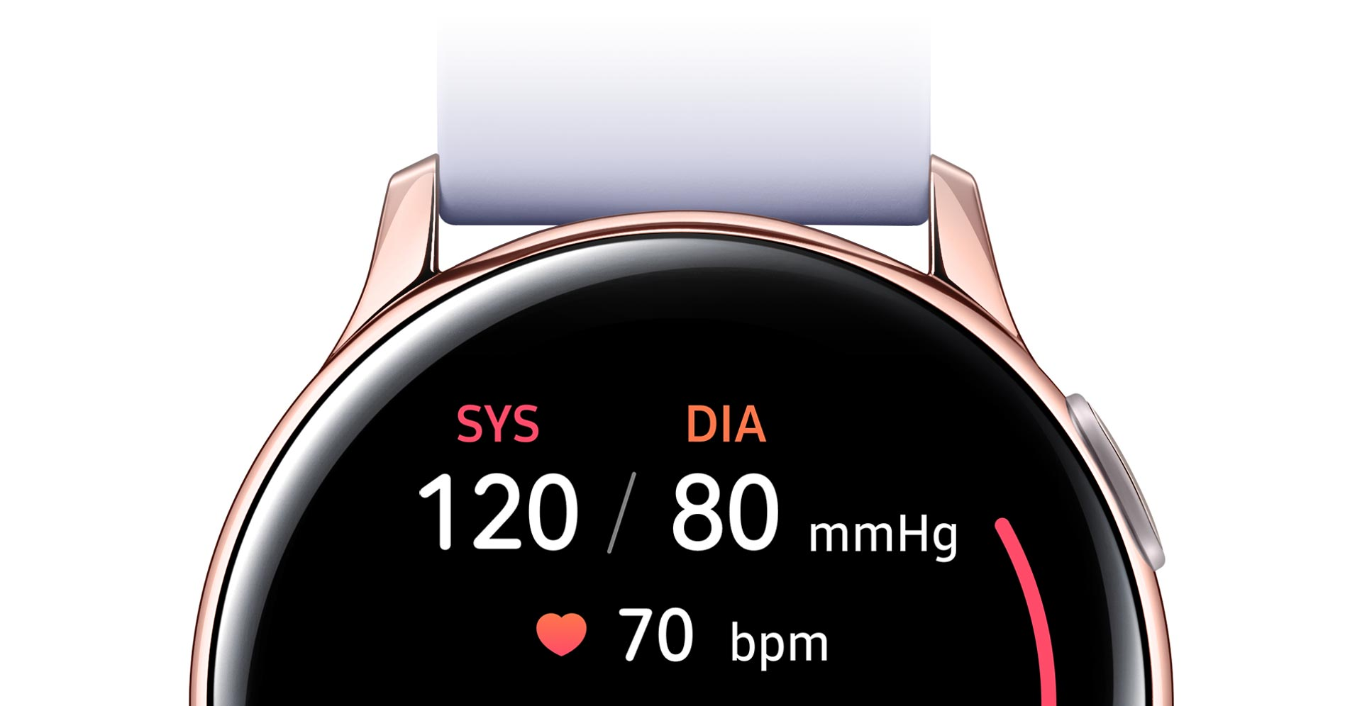 Partial front view of the Rose Gold Galaxy Watch Active2 that displays blood pressure measurements on its watch face.