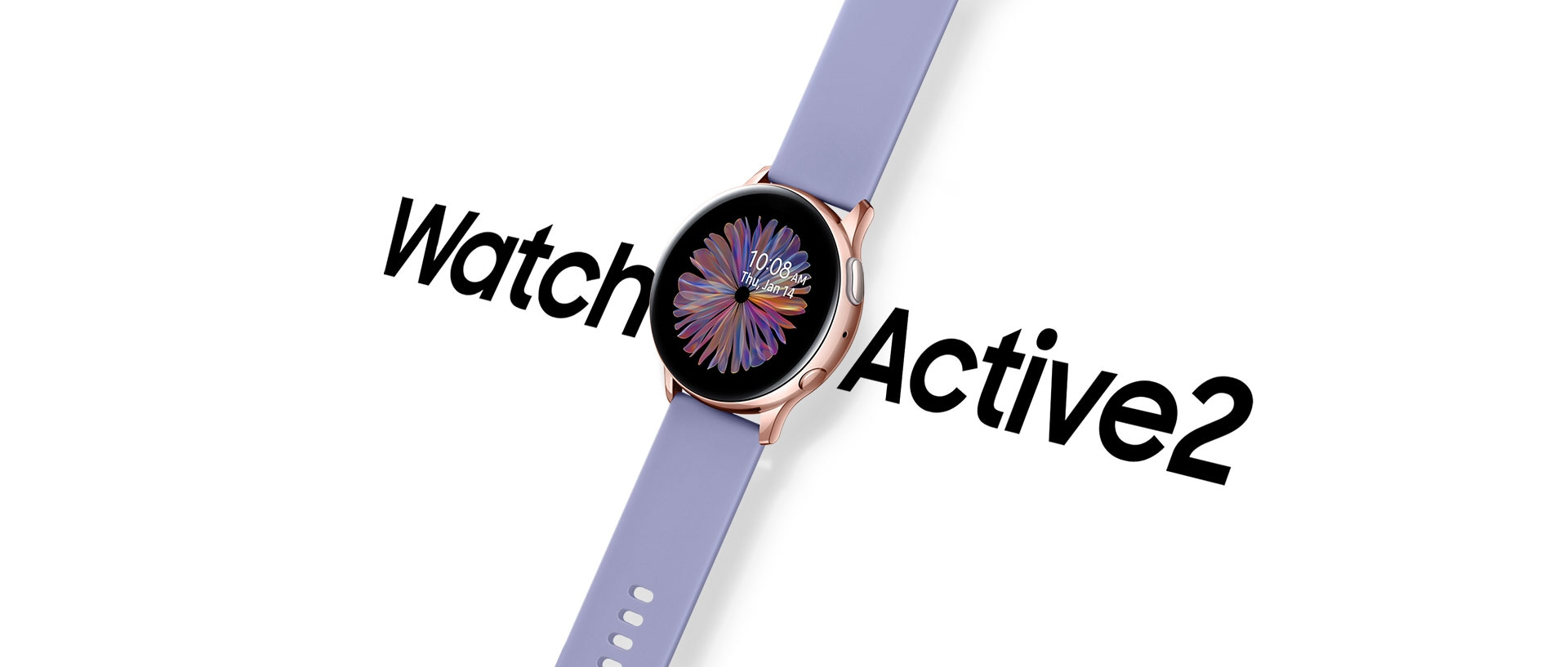 Angled view of Rose Gold Galaxy Watch Active2 with Violet Sport Band hovers over a white background and the words 'Watch Active 2' in a large black font.