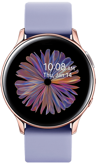 Five Galaxy Watch Active2 models with Green Sport Band, Orange Leather Strap, Violet Sport Band, Pink Leather Strap, and Aqua Black Sport Band are grouped together with various watch colorways that can create different combinations.