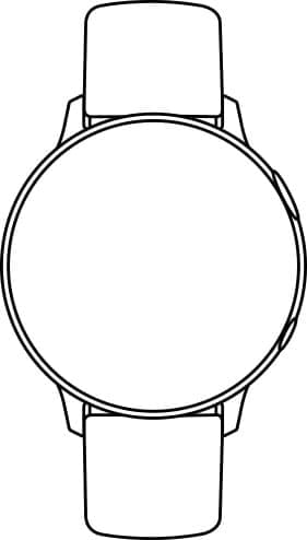 A line drawing of a Galaxy Watch active2