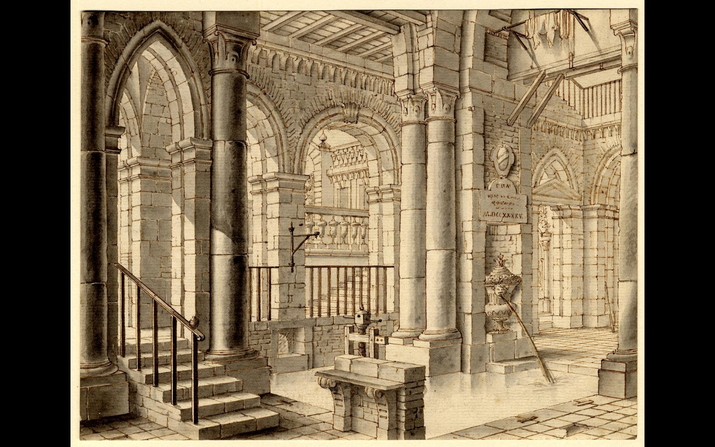Photo of an 18th drawing of an imaginary marble palace interior