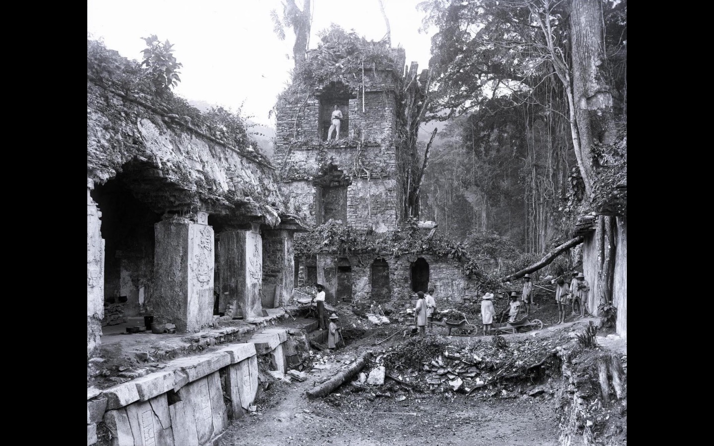 Old black and white photograph of ruined buildings in a rainforest
