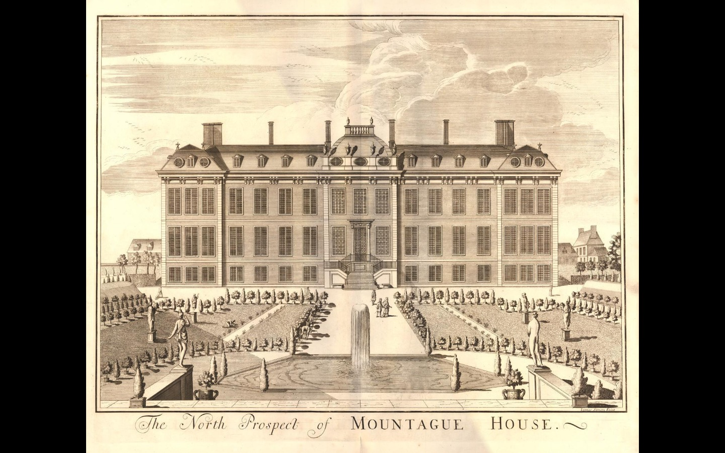 Photo of an old etching and engraving of the north prospect of Montagu House, a large mansion with a mansard roof and three storeys. In front of the mansion is a large, traditional English garden with pavements, trees and statues
