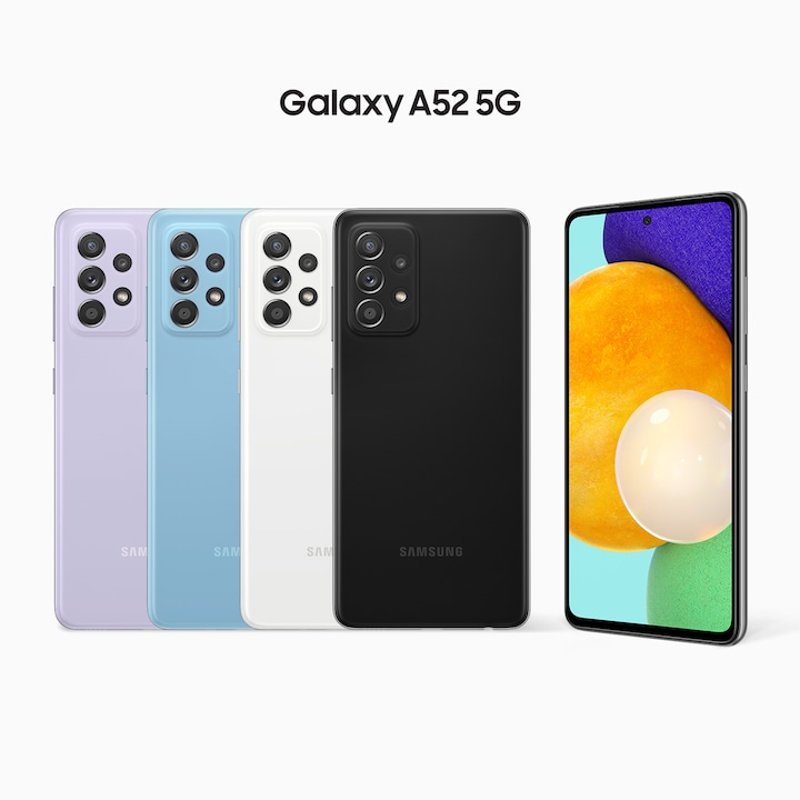 A row of Awesome Violet, Awesome Blue, Awesome White and Awesome Black A52's have their rear sides facing forward, with another model on the right side facing forward at a slight angle. On its screen is a combination of colourful round shapes.