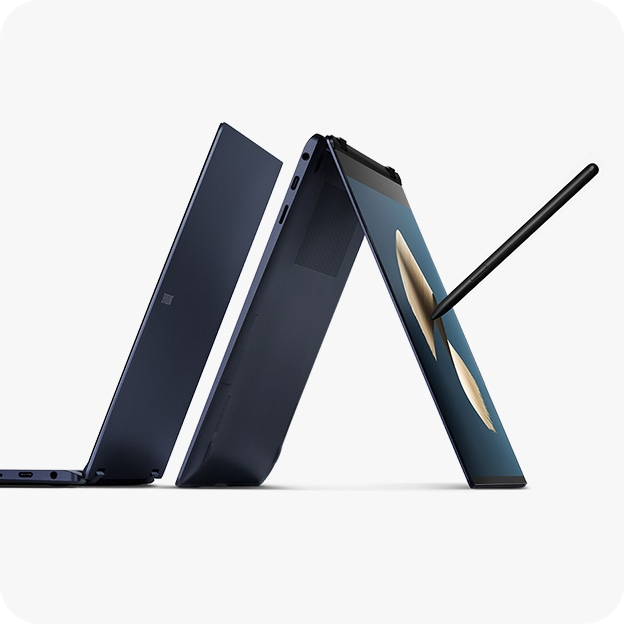 Two Galaxy Book Pro 360 devices. One seen unfolded from the side, and one seen folded back with an illustration on screen. S Pen hovers above it.
