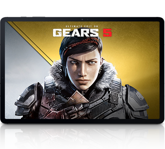 Xbox games surround the tablet with Gears 5 onscreen, 										showing the 100+ games you can stream and controller for even 										more fun