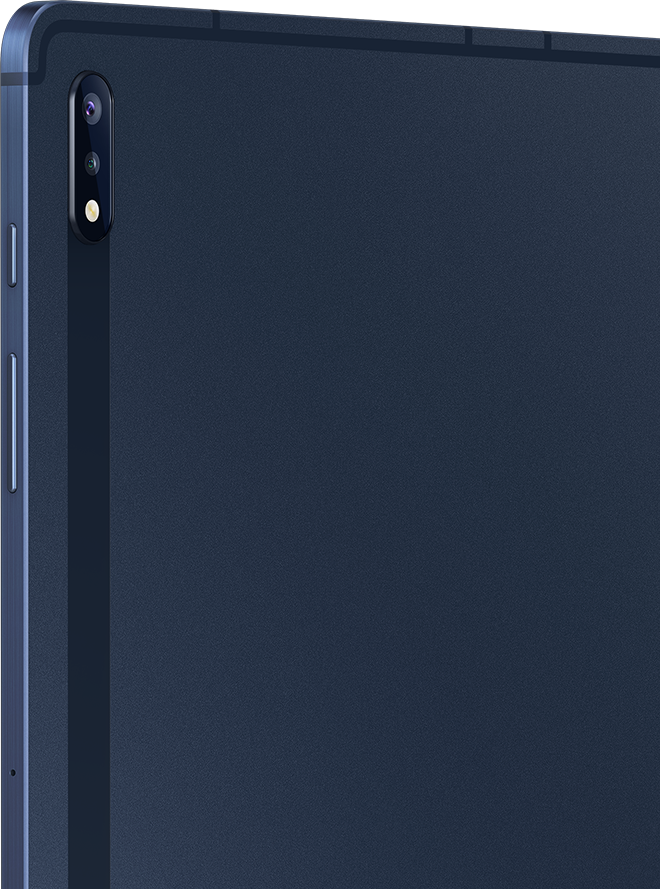 Rear view of Galaxy Tab S7+ in Mystic Navy
