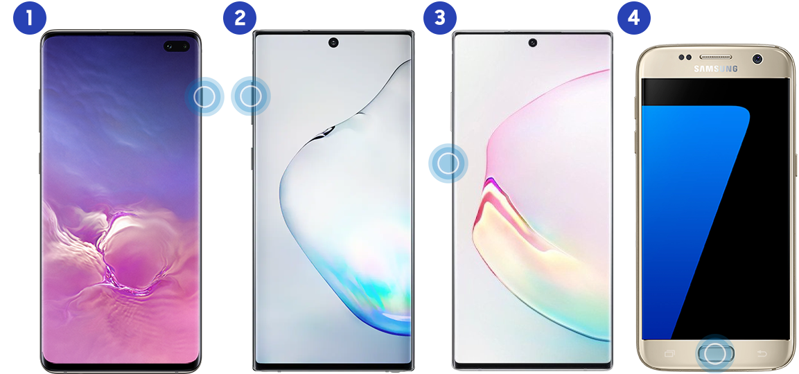 Four images showing button configuration of devices – 1. Power key, 2. Volume keys, 3. Bixby button, 4. Physical home key