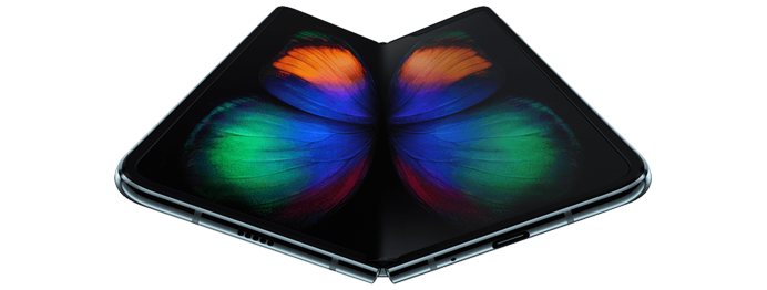 The Samsung Galaxy Fold 5G folds much like a book due to its articulated spine, and boasts a 7.3-inch display when unfolded