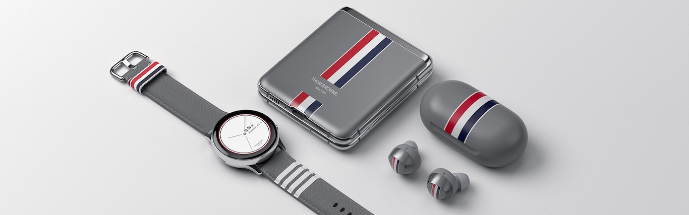 Samsung Galaxy Z Flip Thom Browne Edition, including Z flip, Galaxy Buds plus and Galaxy watch active 2, are neatly arranged with Thom Browne visual identity.