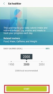 How do I add food and set a calorie goal using the S Health app?