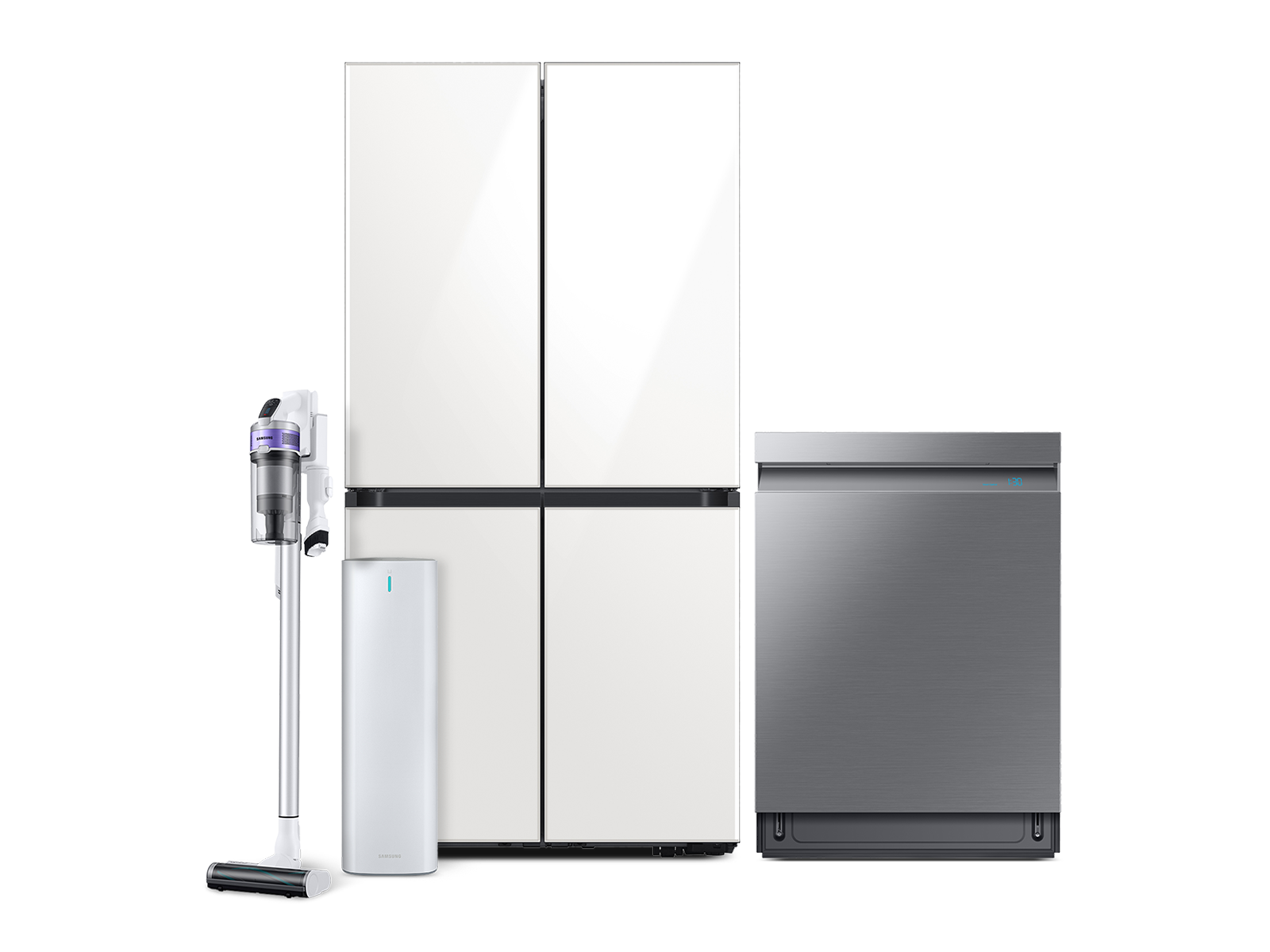 BESPOKE 4-Door Flex? Refrigerator in White Glass, Smart Linear Wash Dishwasher and Jet 70 Pet Cordless Stick Vacuum with Clean Station? package