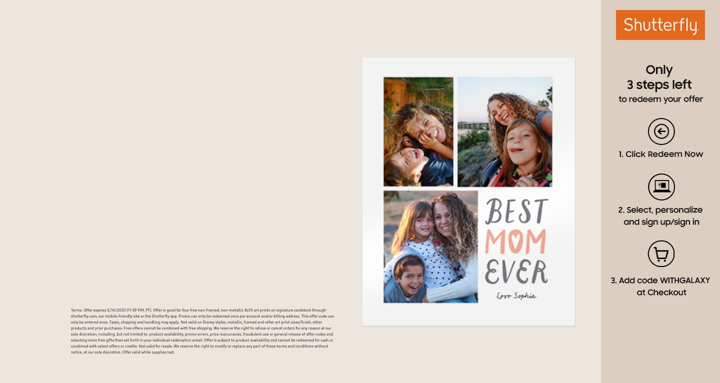 A Shutterfly offer for a personalized Mother's Day greeting card. There is a collage featured with three different prints of a young girl photographed with her mother