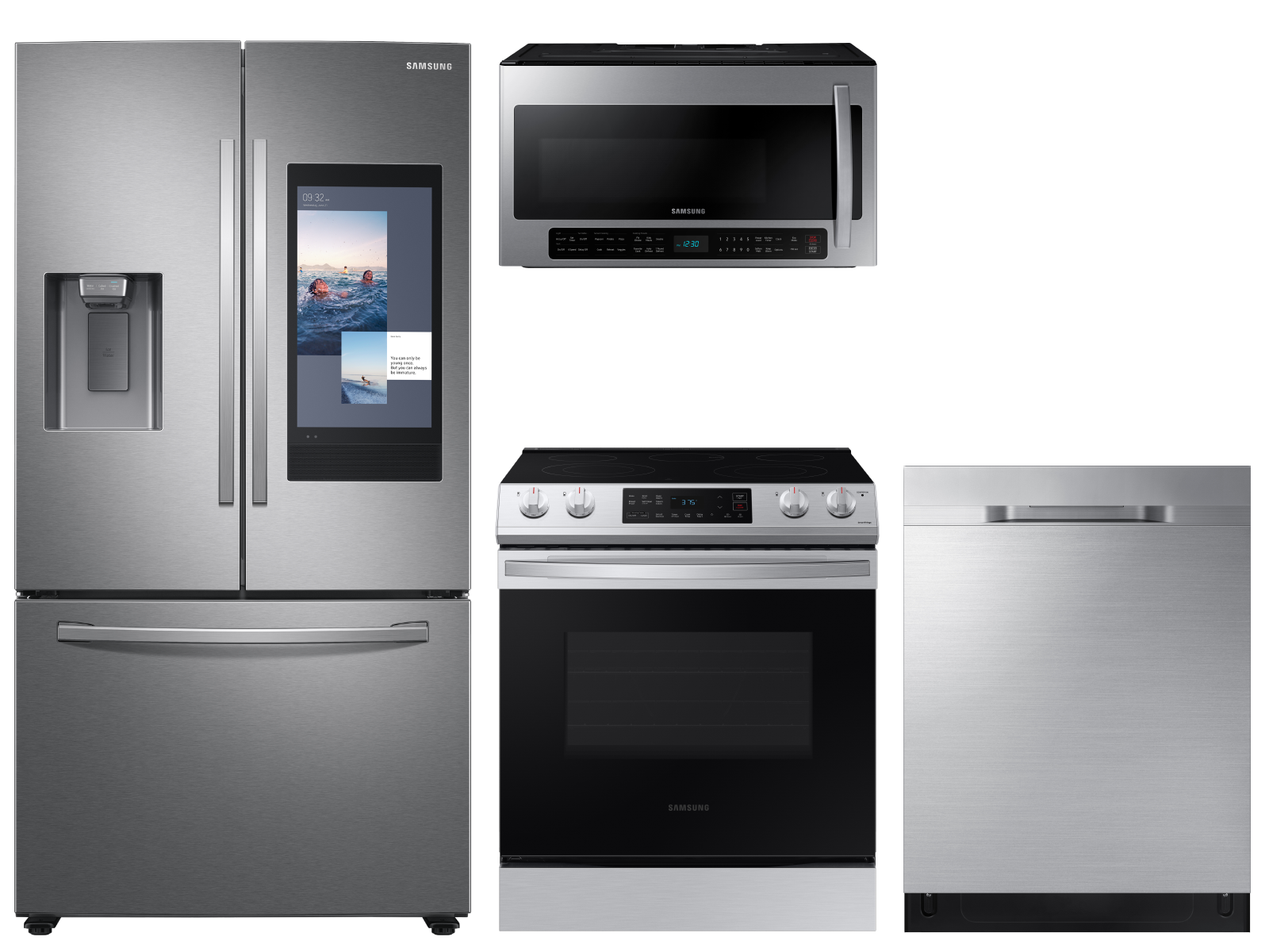 3-door Family Hub™ Refrigerator + Slide-in Electric Range with Wi-Fi +  StormWash™ Dishwasher + Microwave in Stainless Steel