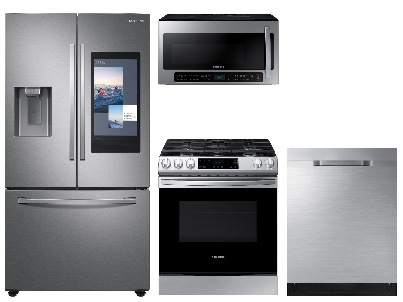 3-door Family Hub™ Refrigerator + Slide-in Gas Range with Wi-Fi +  StormWash™ Dishwasher + Microwave in Stainless Steel