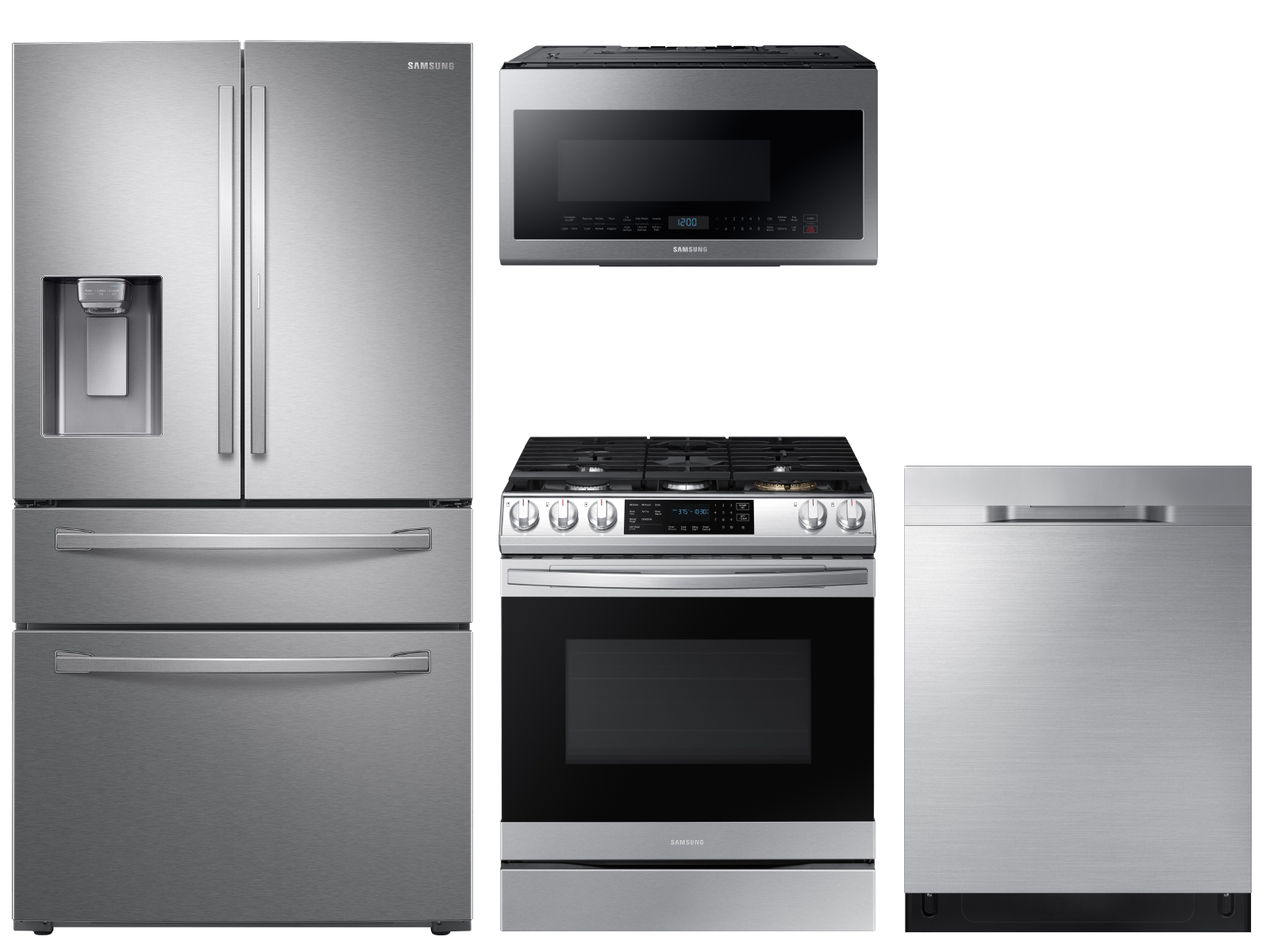 Food Showcase 4-Door Refrigerator + Slide-in Gas Range with Air Fry +  StormWash™ Dishwasher + Microwave in Stainless Steel