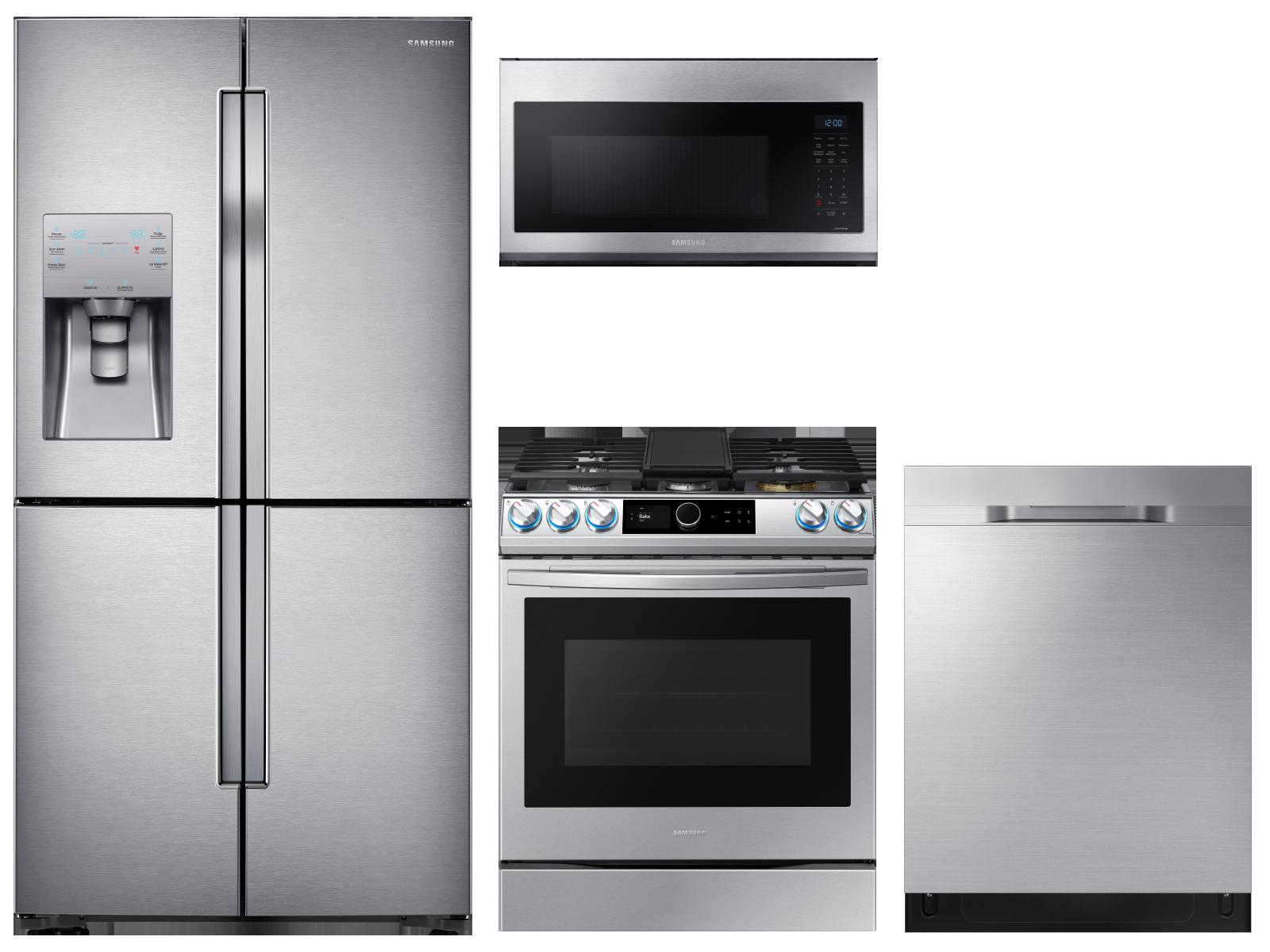 4-Door Flex™ Refrigerator + Slide-in Gas Range with Smart Dial & Air Fry + Dishwasher + Microwave in Stainless Steel