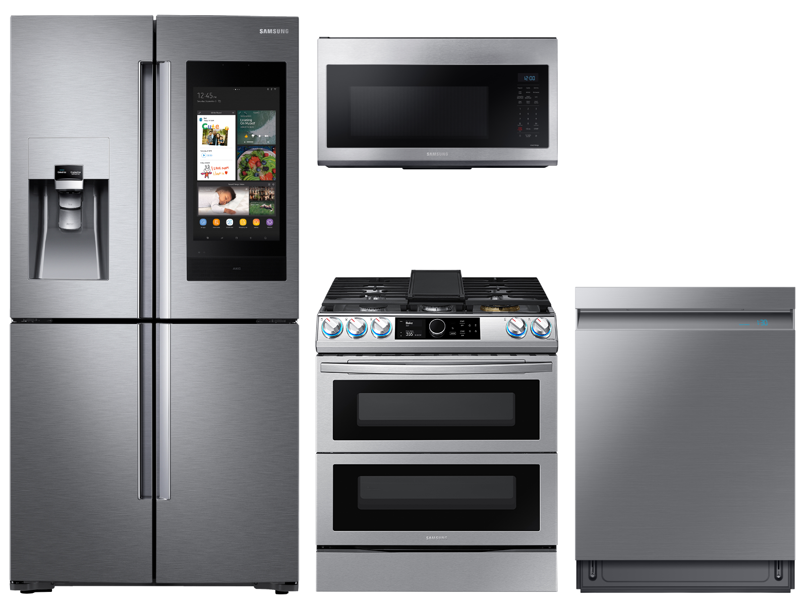 Family Hub™ 4-Door Flex™ Refrigerator + Flex Duo™ Slide-in Gas Range with Smart Dial & Air Fry + Linear Wash Dishwasher + Microwave in Stainless Steel
