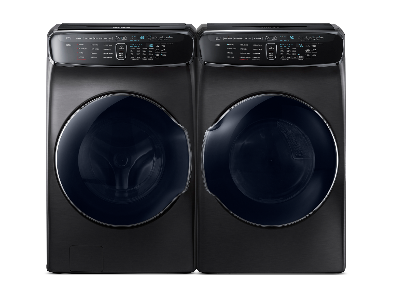 Smart Flex Washer & Dryer Set in Black Stainless Steel