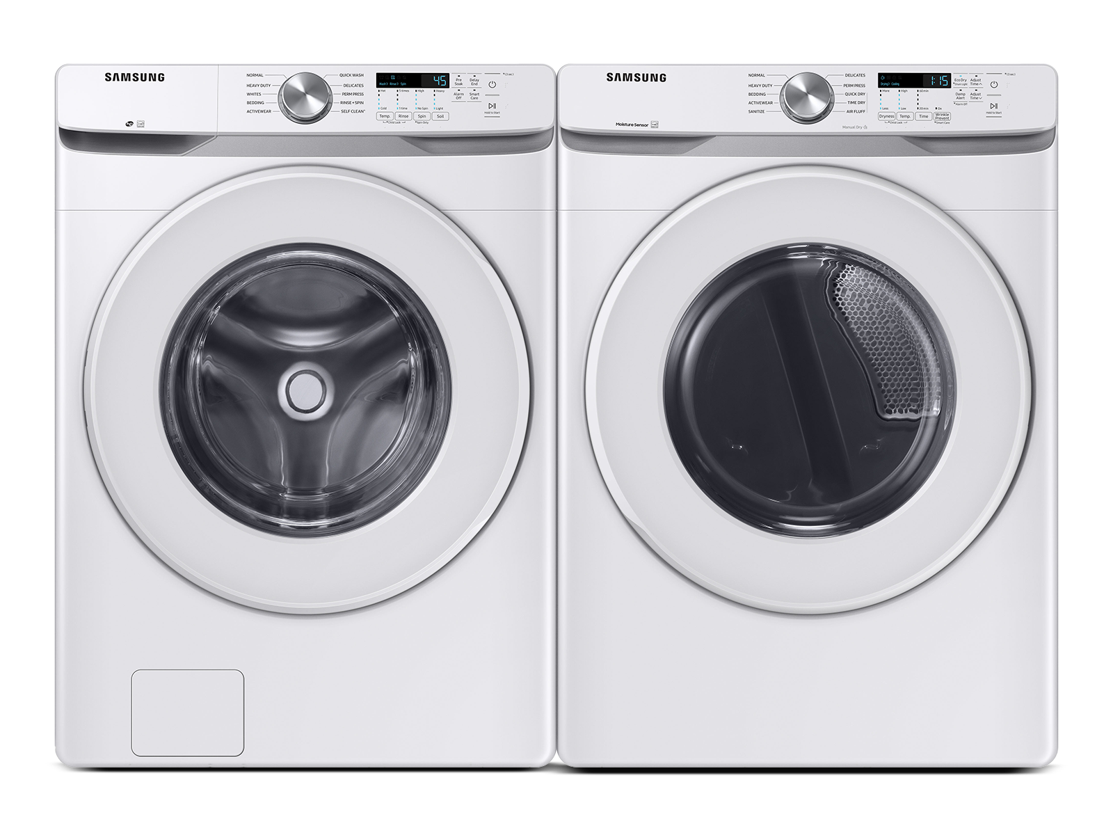 Samsung coupon: Samsung Front Load Washer & Dryer Set with Vibration Reduction Technology+ and Sensor Dry in White(BNDL-1603912197302)