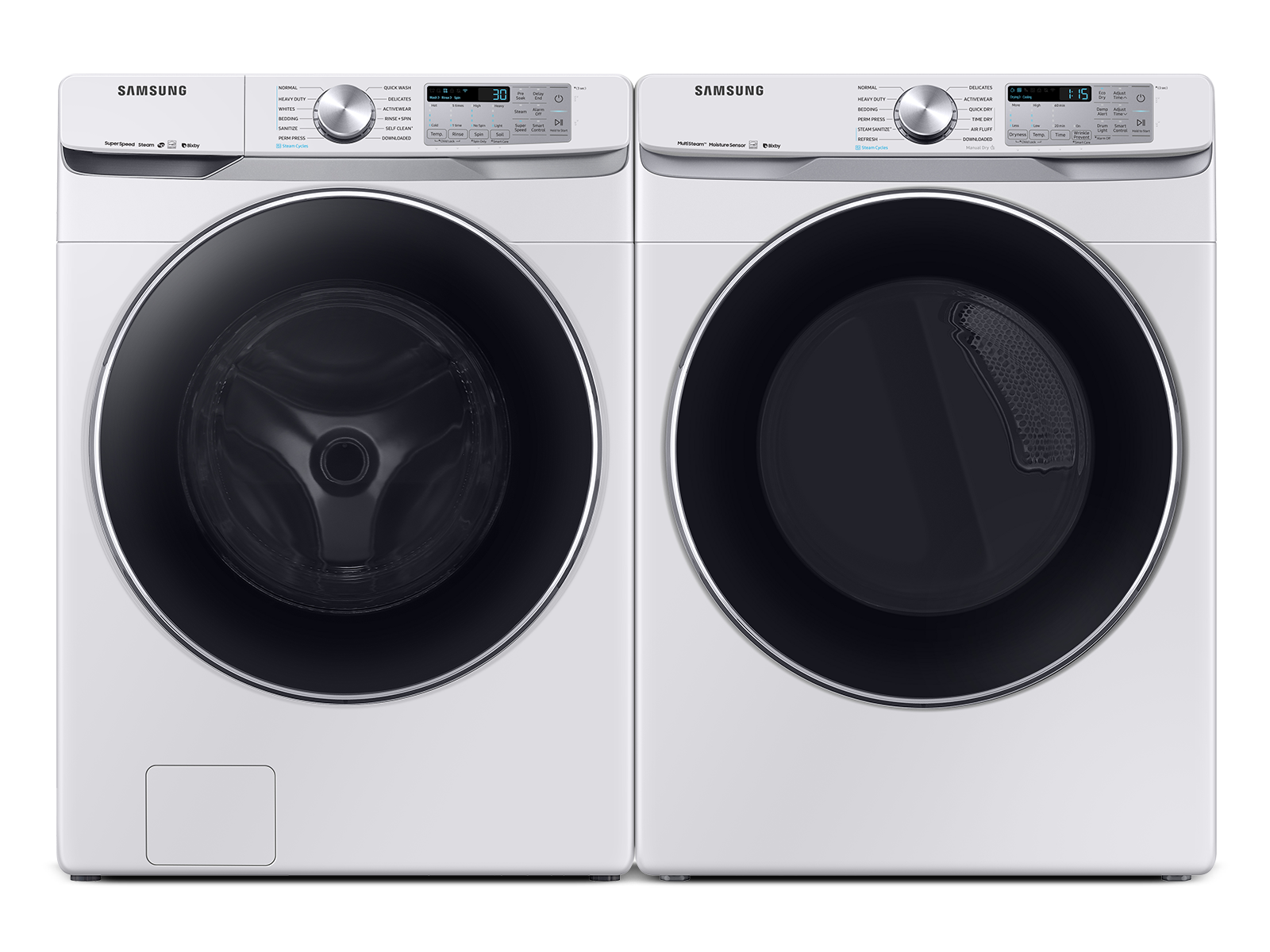 Samsung coupon: Samsung Smart Front Load Washer & Dryer Set with Super Speed and Steam Sanitize+ in White(BNDL-1603918467523)