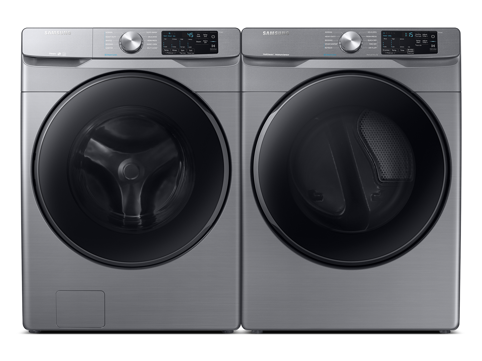Samsung coupon: Samsung Front Load Washer & Dryer Set with Steam and Steam Sanitize+ in Platinum(BNDL-1603921589629)