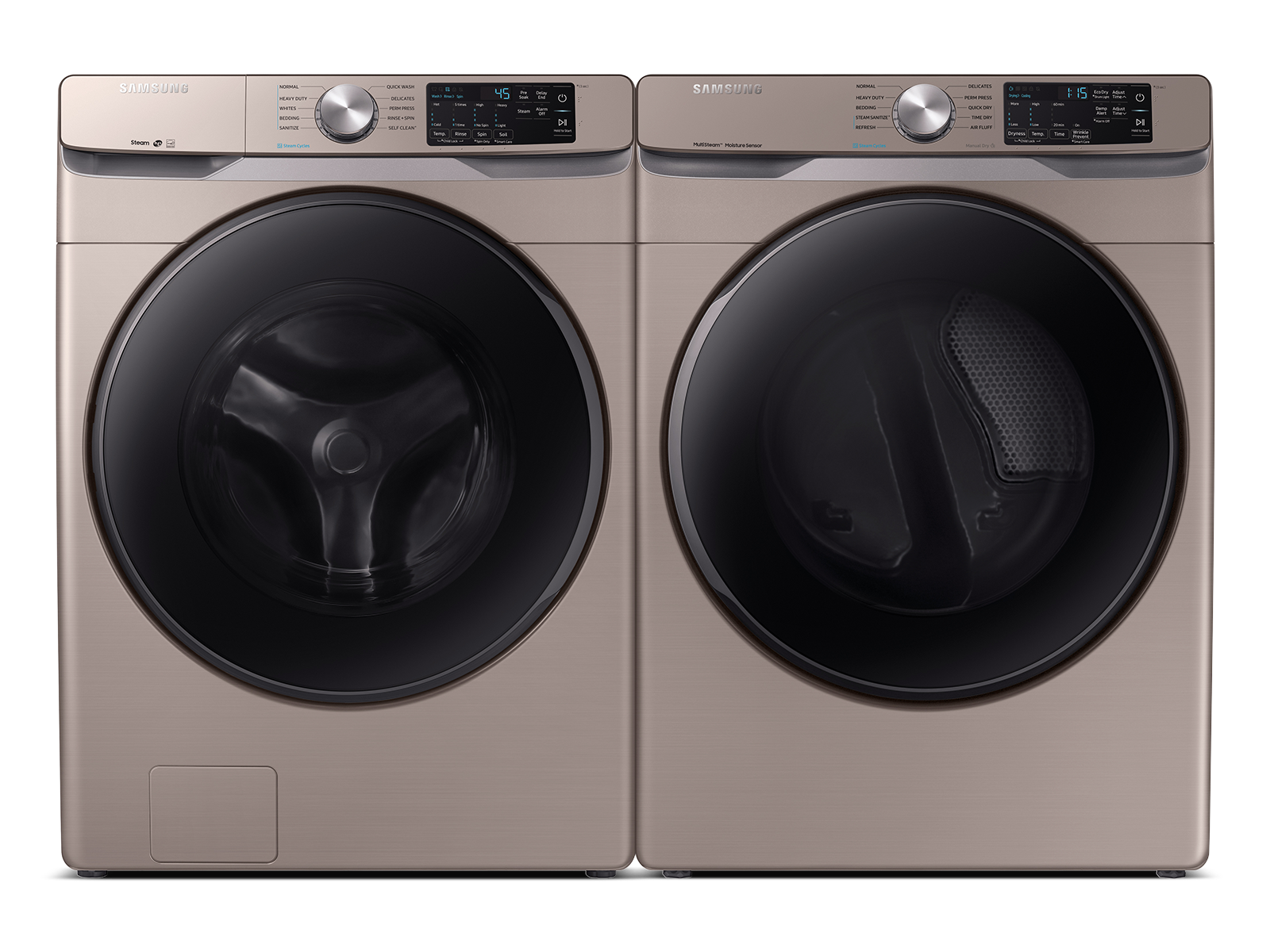 Samsung coupon: Samsung Front Load Washer & Dryer Set with Steam and Sensor Dry in Champagne(BNDL-1603922704145)