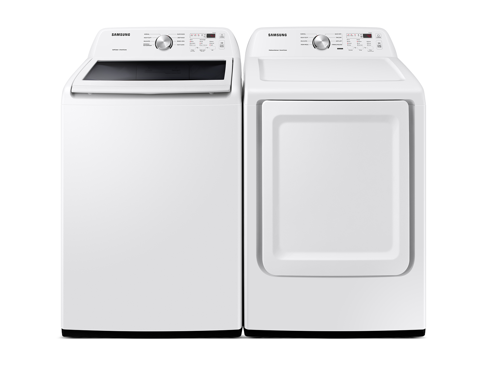 Samsung coupon: Samsung Top Load Washer & Dryer Set with Vibration Reduction Technology+ and Sensor Dry in White(BNDL-1603923099314)