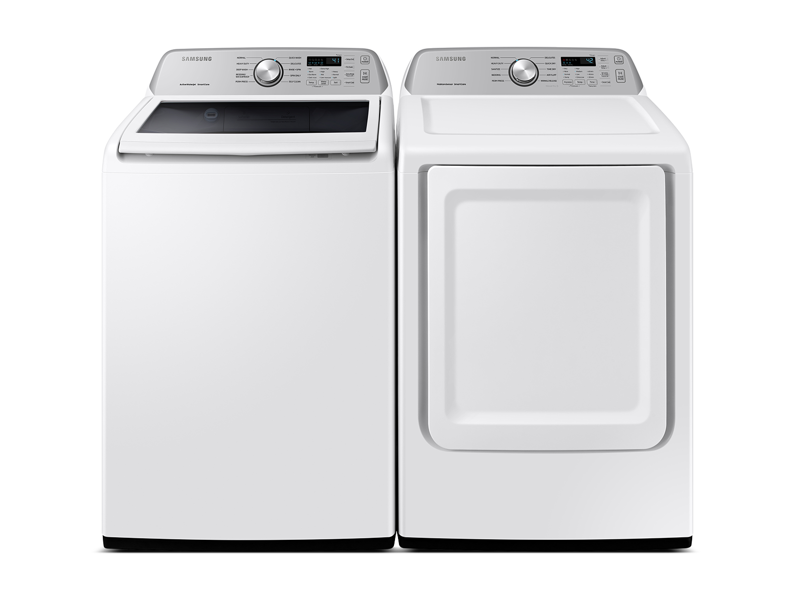 Samsung coupon: Samsung Top Load Washer & Dryer Set with Active WaterJet and Sensor Dry in White(BNDL-1603923407750)