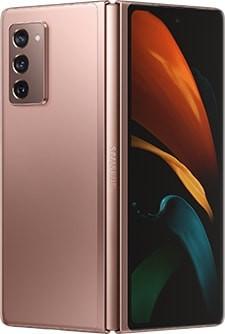 Galaxy Z Fold2 màu Đồng Ánh Kim Huyền Bí được nhìn từ phía sau, hơi mở với hình nền bươm bướm trên Màn hình ngoài.