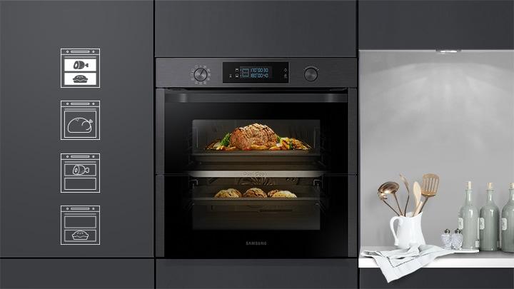 Einbauofen mit Dual Cook Flex, Pyrolyse, 75L, Premium Black