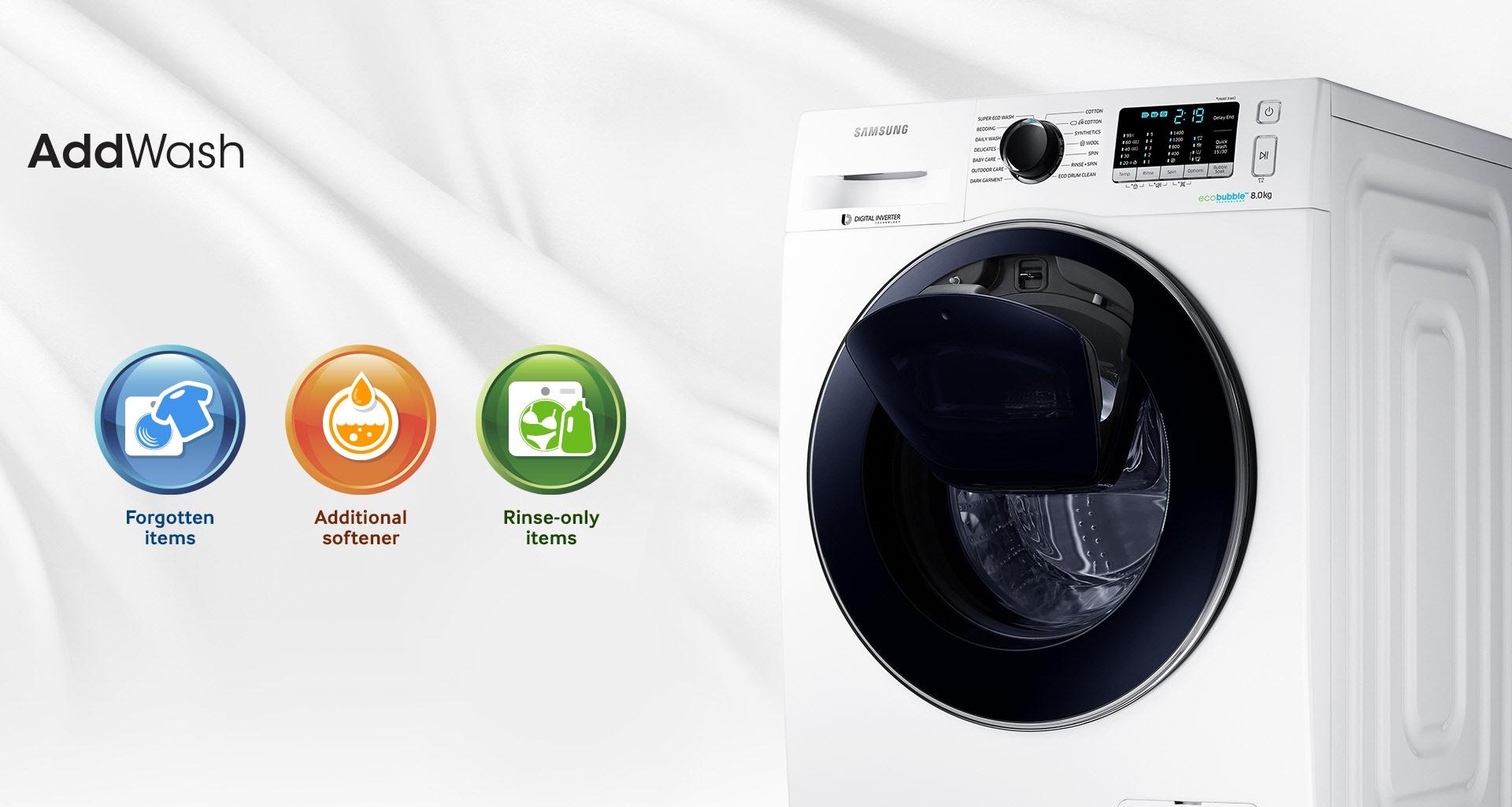 Einfaches Hinzufügen von Wäsche oder Waschmittel während des Waschgangs