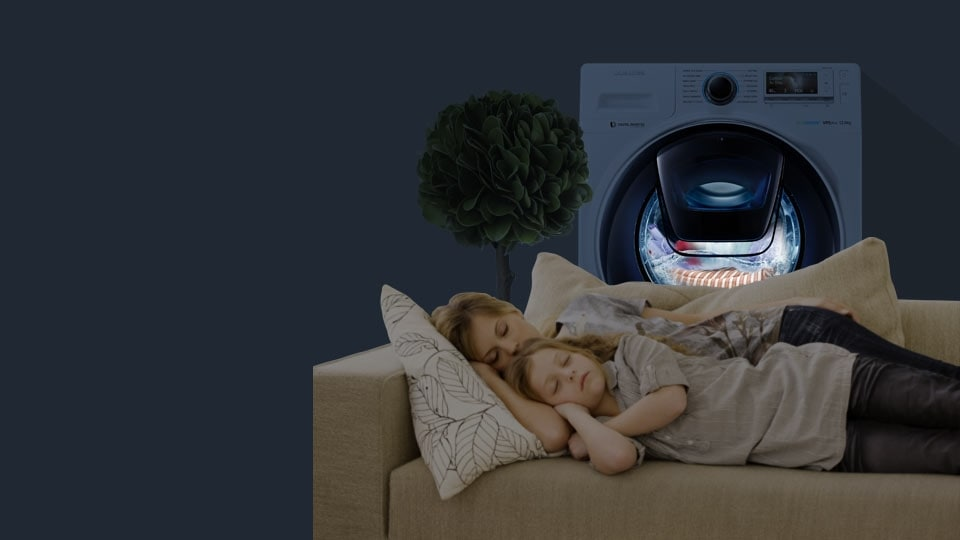 An image showing a mother and a child sleeping on a sofa while the WW8500 is running in the background.