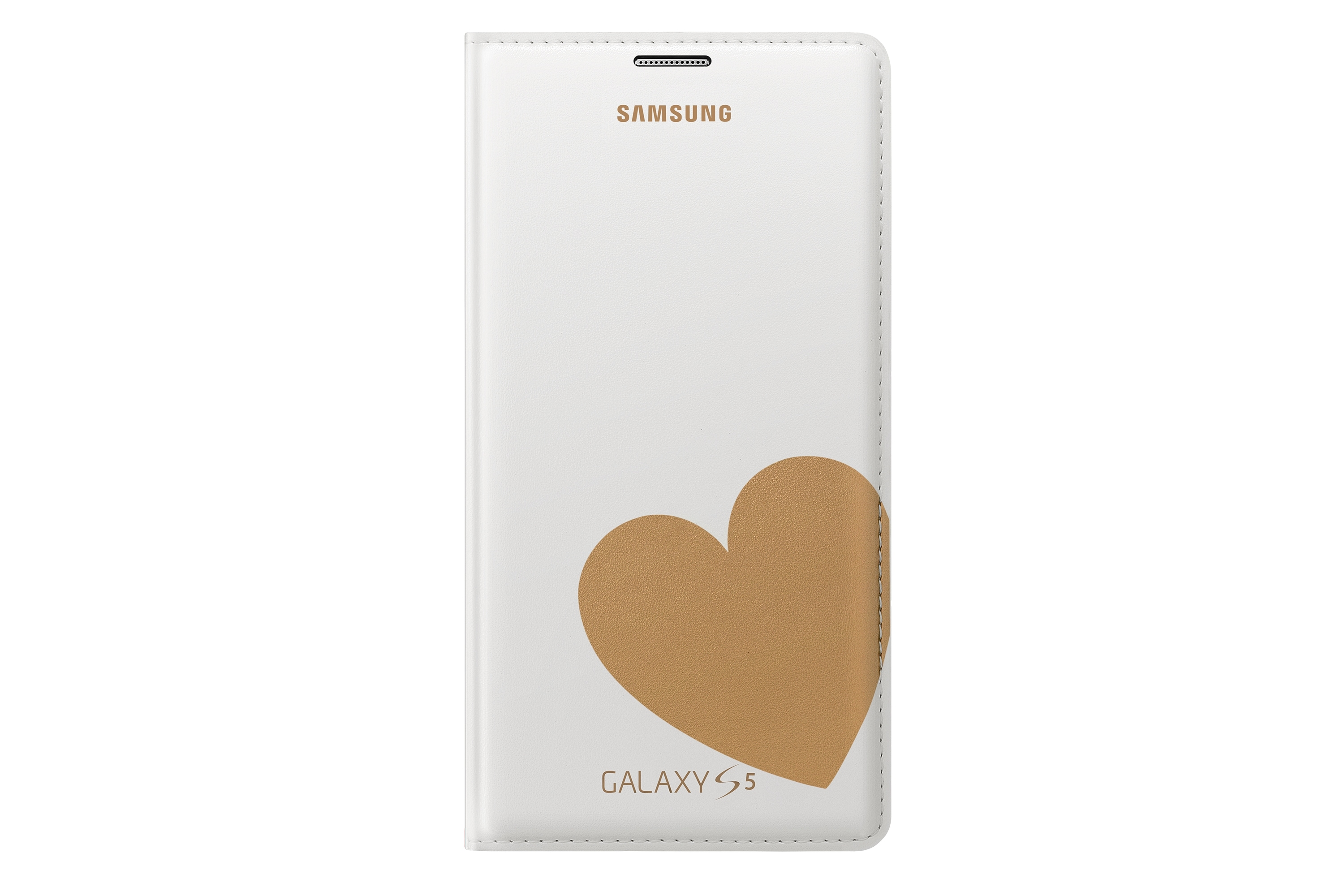 Flip Cover für Galaxy S5 Designed by Moschino (Heart) White + Gold EF-WG900R