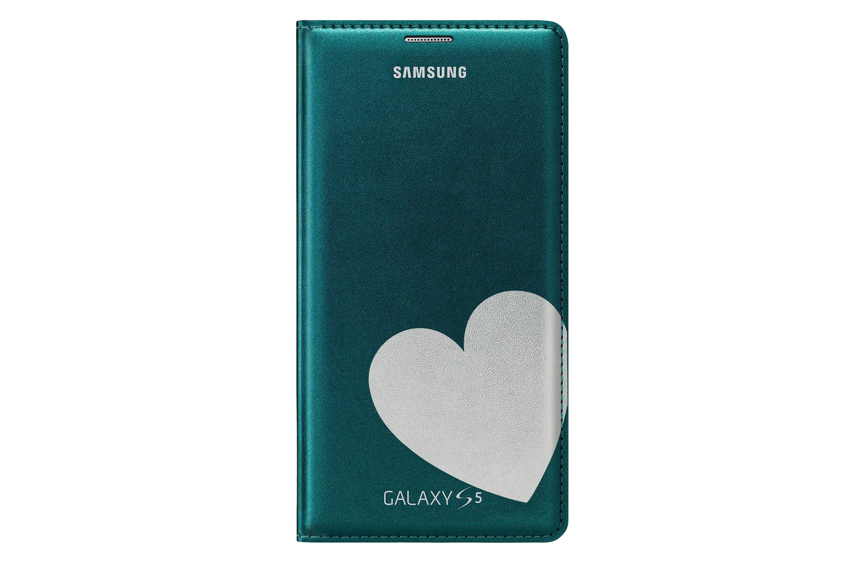 Flip Cover für Galaxy S5 Designed by Moschino (Heart) Green + Silver EF-WG900R