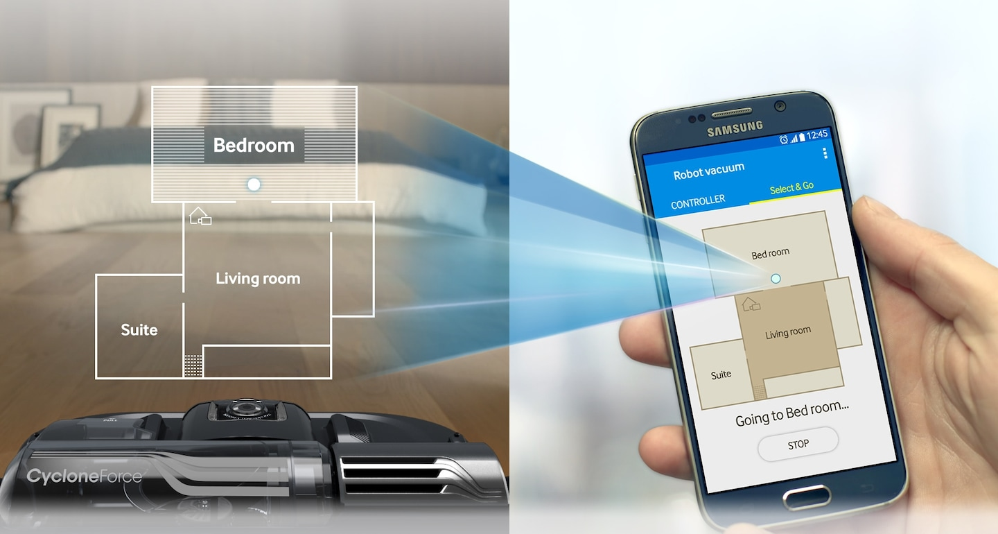 Select areas you want to clean with your compatible smartphone