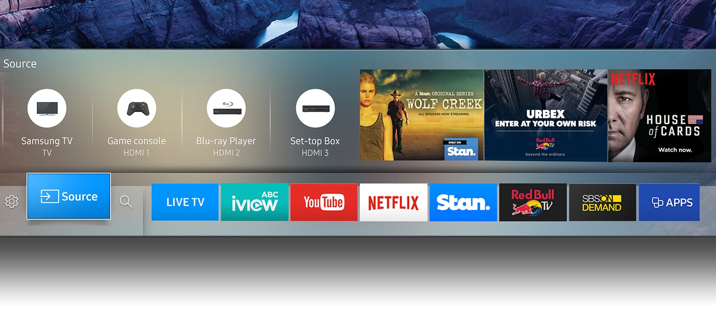 Smart hub UI called Eden is on Samsung TV onscreen.