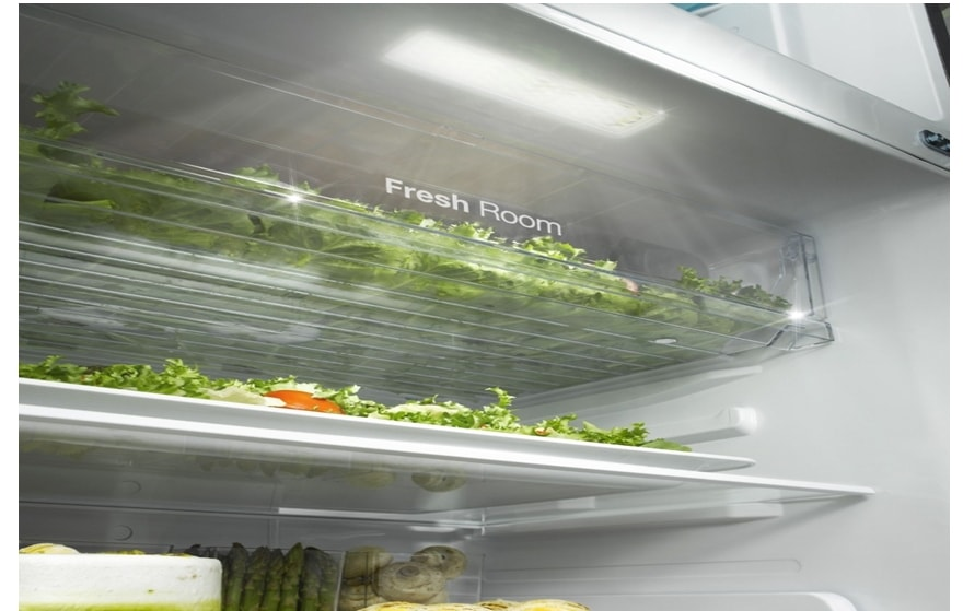 LED lighting illuminates the refrigerator and freezer
