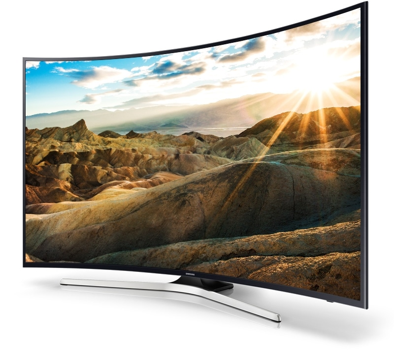 A Right perspective angle of samsung uhd TV with bright landscape onscreen image.