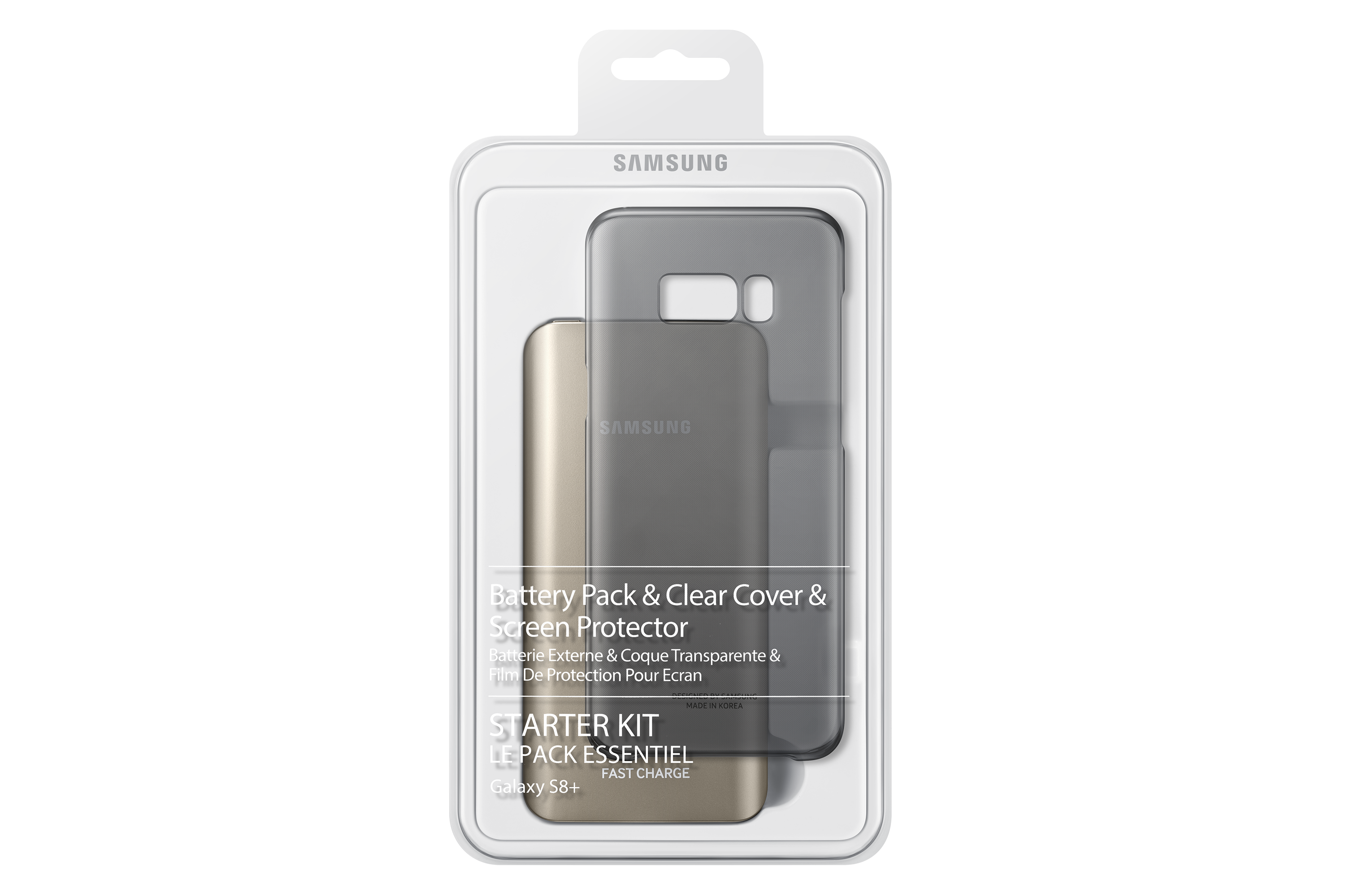 Starter Kit 1 - Galaxy S8+ Clear Cover + Screen Protector + 5.2Ah Battery Pack + C type gender