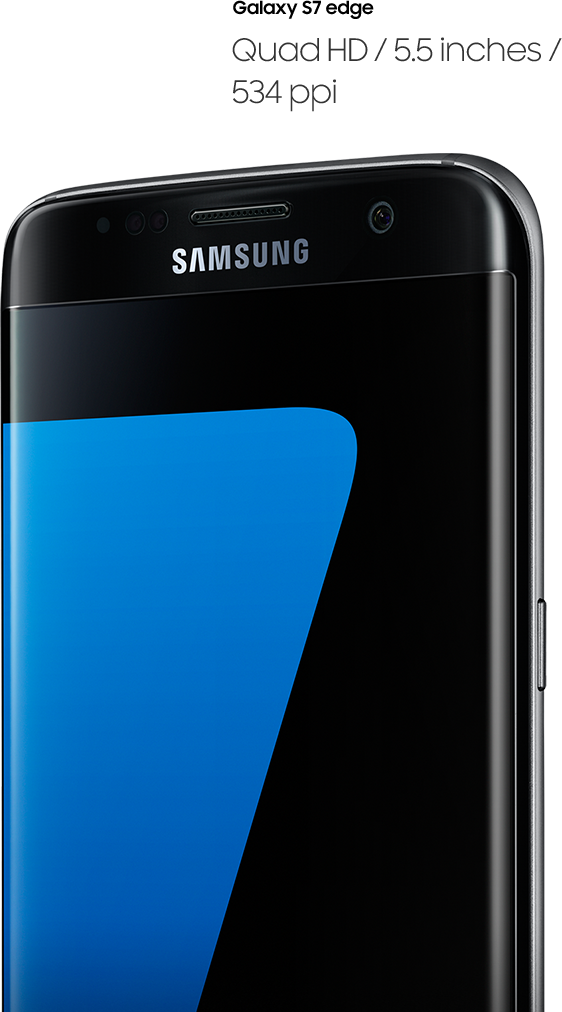 Right perspective angled image of galaxy s7 edge - Quad HD / 5.5 inches / 534 ppi
