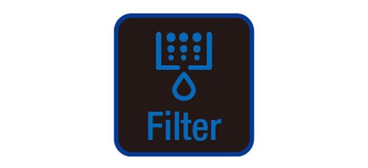 Ilustração com uma gota de água e texto 'Filter' do indicador luminoso do refrigerador para a troca do filtro